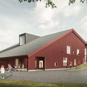 En röd byggnad i trä som visar hur Kyrkfjärdens skola i Ingå planeras att se ut.