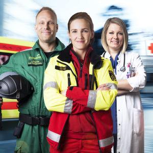 Elossa 24h - sarjan 4. tuotantokauden pääkuvassa Kosti Koivisto-Kokko, Laura Carstens ja Iita Daavittila.
