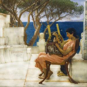 Sapfo ja Alcaeus - myyttiset kreikkalaiset Lawrence Alma-Tademan maalauksessa