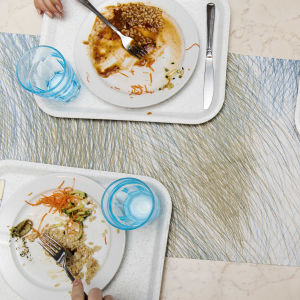 Fyra brickor på ett bord med var sin tallrik med skolmat.