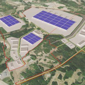 En skiss av Långskogens industriområde där en batterifabrik planeras på en 300 hektar stor tomt.