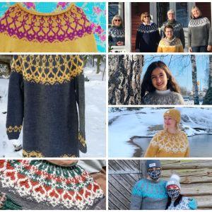 """ett kollage av flera fotografier. På fotografierna finns olika versioner av en mönsterstickad tröja som heter """"Strömsötröjan""""."""