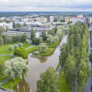 Karleby centrum sett uppifrån.
