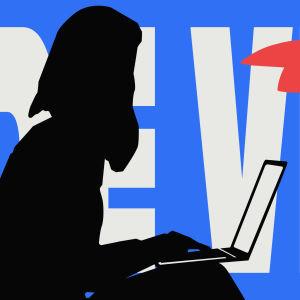 Svart sidoprofil av ett kvinna sammanträde med en bärbar dator i hennes knä. Bildens bakgrund är fylld med stor text de vet.