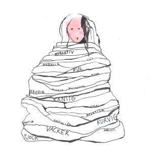 Illustration av kvinna som är fången i kommenterade ord