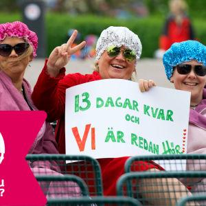 Tre damer väntar på Allsång på Skansen sommaren 2015.