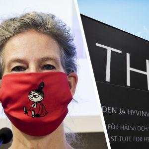 Fotokollage av Hanna Nohynek, Institutet för hälsa och välfärds logo mot en blå himmel och en hand som håller en vaccinflaska.