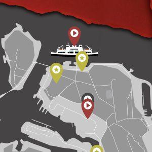 Harmain sävyin piirretty kartta Suomenlinnasta, mihin on merkitty kuunnelmapisteitä ja symboli puhelimesta sekä kuulokkeista. Kuvan reunoilla punaisia paperin repeämiä.