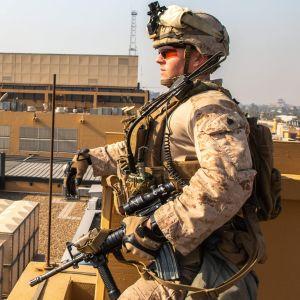 Amerikansk marinkårssoldat vid USA:s ambassad i Bagdad den 3 januari 2020.