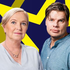 Carin Göthelid och Ville Hupa i närbild med blågul bakgrund.