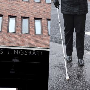 Skylt där det står Helsingfors tingsrätt samt en bild på en person med en vit käpp.