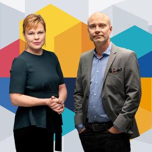 Ingemo Lindroos och Freddi Wahlström framför Svenska Yles färggranna valgrafik.