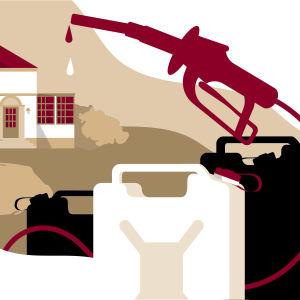 Kuvituskuva bensakanistereista ja jutussa esiintyvästä kartanosta