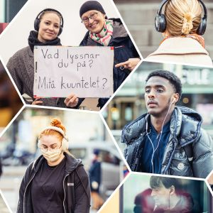Fotocollage av människor som går på gatan och bär hörlurar.