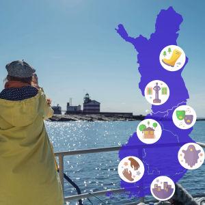 En man och en kvinna bakifrån vinkar mot en fyr som står på en karg kobbe i horisonten. Blå himmel, starkt solsken. Till höger en karta över Finland översållat med symboler, t.ex en stövel, en staty, höghus och en trädgård.