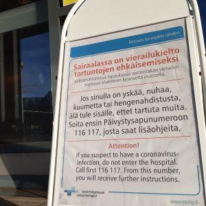 Sairaaloissa jatkuu varovaisuus vierailujen suhteen.