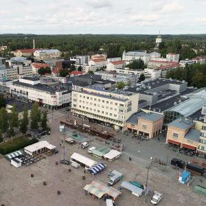Ilmakuva Mikkelin keskustasta syyskuussa 2020.