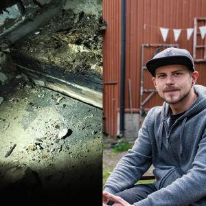 En collagebild med en man som ler mot kameran, ett rött hus, och spår av en fuktskada på ett golv.