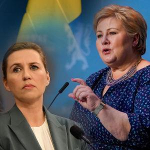 Bildkollage med statsministrarna Stefan Löfven, Mette Frederiksen och Erna Solberg.