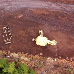 Torvtäkten i Mjölbolsta, Karis. Bild tagen från luften.