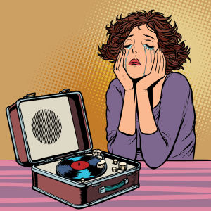 tecknad bild av en kvinna som lyssnar på musik och gråter.