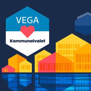 Stiliserade hus i gula toner framför en mörkblå himmel. I en sexkant står det Vega hjärta Kommunalvalet.