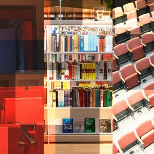 Kuvakollaasi neljästä kulttuuriaiheen kuvasta, vasemmalta oikealle: näyttämö, kirjasto, teatterin katsomo, näyttelytilan seinä jossa tauluja