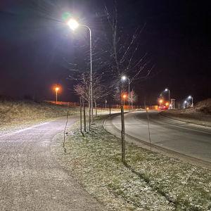 Kevyenliikenteen katuvaloja Lappeenrannassa.