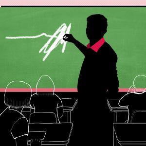 Kuvituskuva: opettaja luokassa
