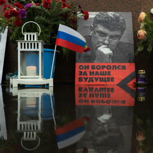 Photo of Boris Nemtsov  and Russian flag
