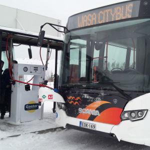 Vasa lokaltrafiks biogasbuss tankar vid Stormossens tankningsstation.