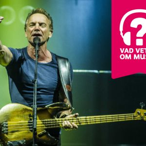 Sting sträcker ut ena armen, har en elbas kring halsen och sjunger i en mikrofon som är i en mikrofonställning.