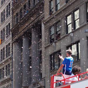 Parad för USA:s VM-guldmedaljörer i fotboll.