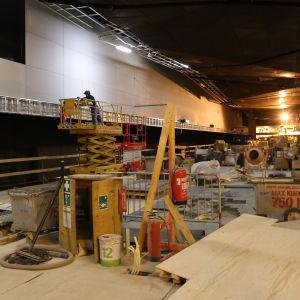 Aalto-universitets metrostation under konstruktion.