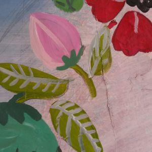 målade blommor på karta