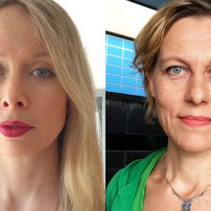 Runoilija, kääntäjä Katriina Ranne ja runoilija Anja Erämäja