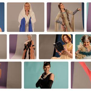 Kuvassa eri ajanjaksojen naisia