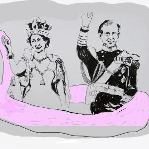 Illustration av drottning Elisabeth som vinkar och prins Philiph