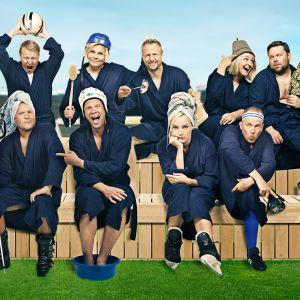 Yle TV2:n Villi kortti -ohjelman juontaja ja panelistit yhteiskuvassa.