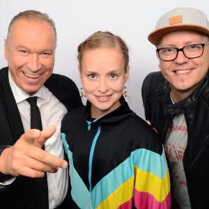 Ilkka Vainio, Talvikki Eerola ja Toni Laaksonen puolilähikuvassa
