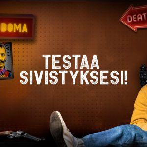 Kalevi Tuoninen (Antti Holma) istuu studiossaan jalat leveästi pöydällä tuijottaen kameraan. Kuvaan lisätty teksti: testaa sivistyksesi!