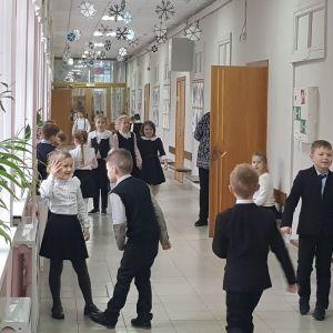 Ryska skolbarn har rast.