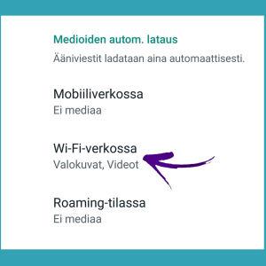 Kuvakaappaus WhatsAppista: Kuvien automaattisen latauksen esto Android