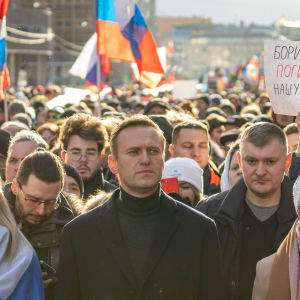 Aleksei Navalnyi, Lubov Sobol and his wife Julia Navalnaja on the Nemtsov memory march