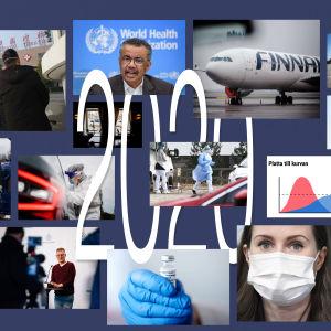 Fotocollage av nyhetshändelser 2020.