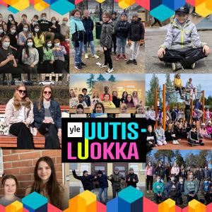 Kuvakollaasi vuoden 2021 uutisluokan päivän ryhmistä eripuolelta Suomea