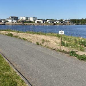 Kuvassa näkymä Meripuistosta asuntomessualueelle. Pyörätien reunassa on kyltti, jossa lukee varo pesivää tiiraa.