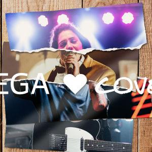 sönderrivna bilder på fyra olika musicerande människor som bildar en, med texten Vega hjärta covers över.