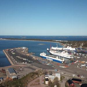 Flygbild av Hangö hamn.