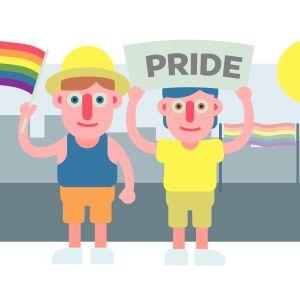 illustration av två karaktärer som deltar i prideparaden